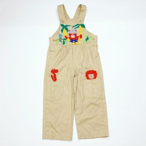 Vintage 80s Boys Safari Zoo Animals Overalls 2T